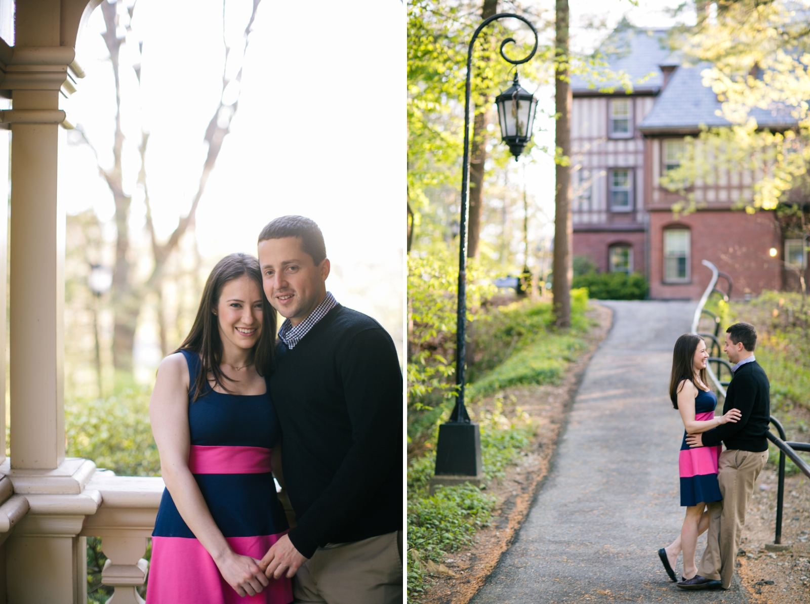 Casual engagement portraits of couple holding hands and walking together through Wellesley campus.