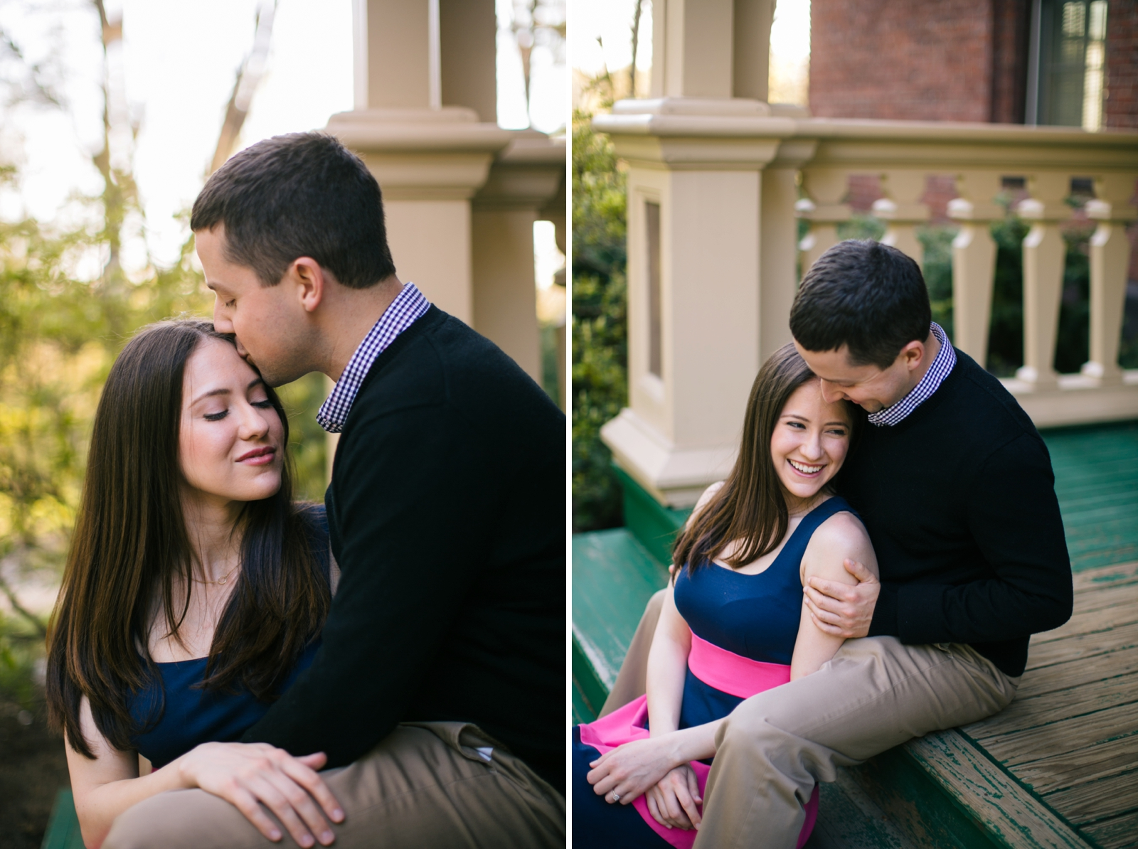 Romantic candid engagement portraits of couple sitting together on stoop on Wellesley campus.