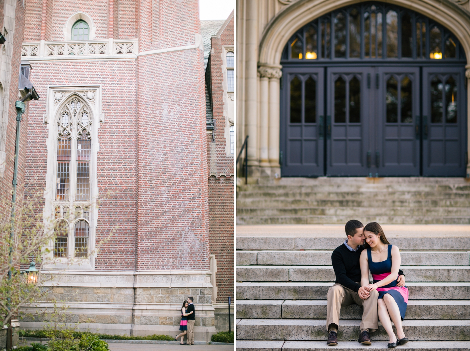 Intimate engagement portrait of couple sitting together on the steps at Wellesley campus.