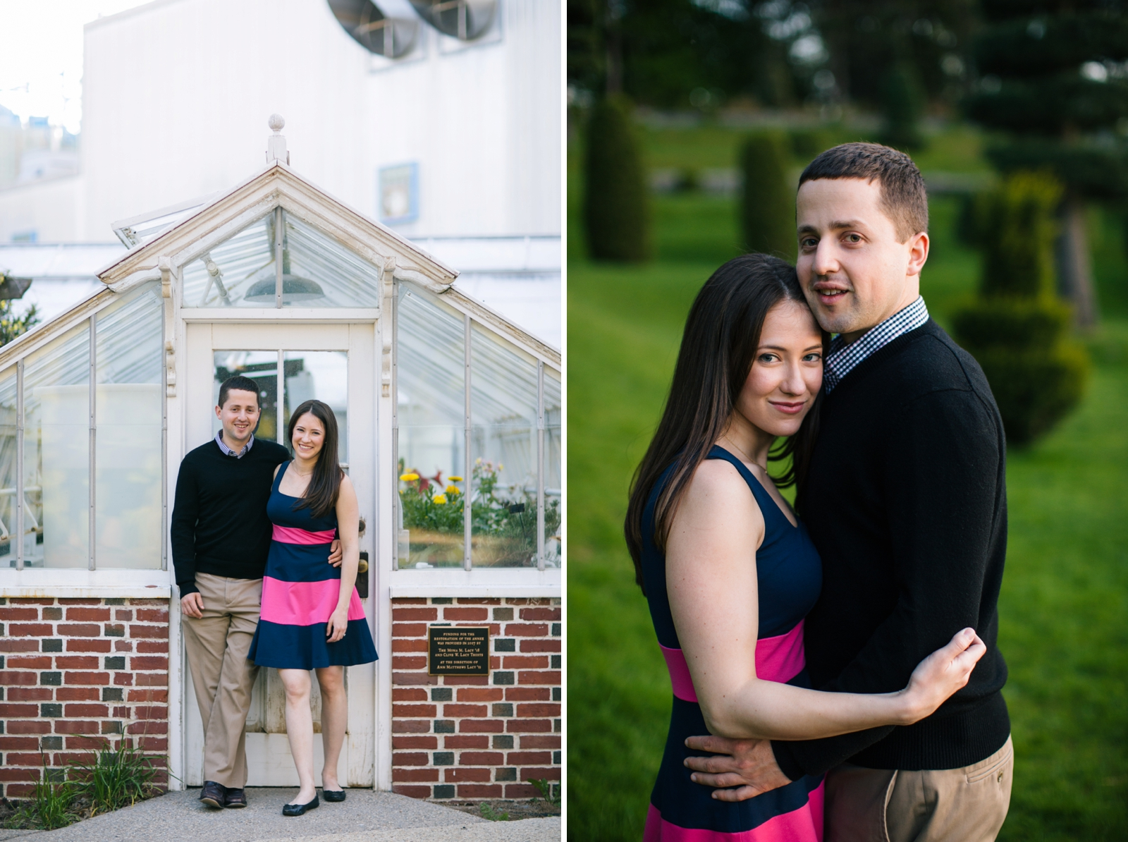 Couple stand in front of greenhouse, intimate engagement portrait in a garden